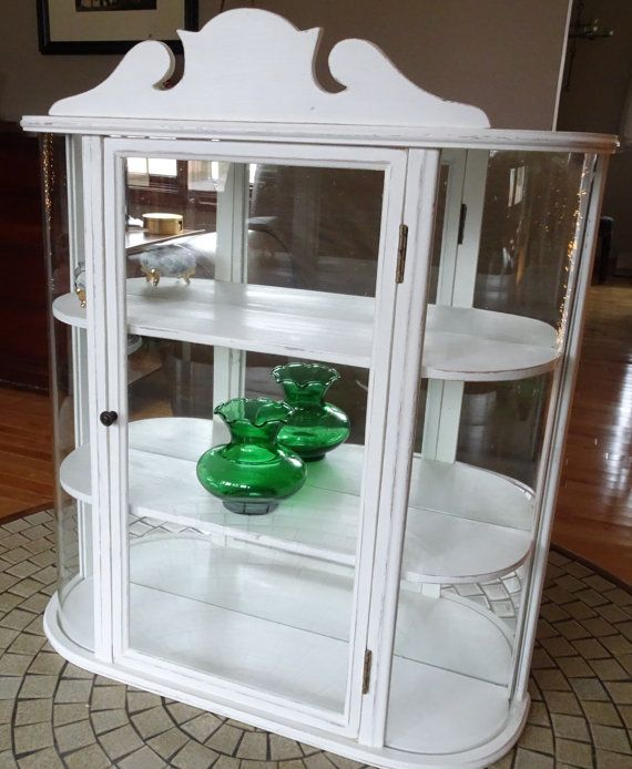 Vintage Repurposed Small Curio Cabinet With Curved Glass Display