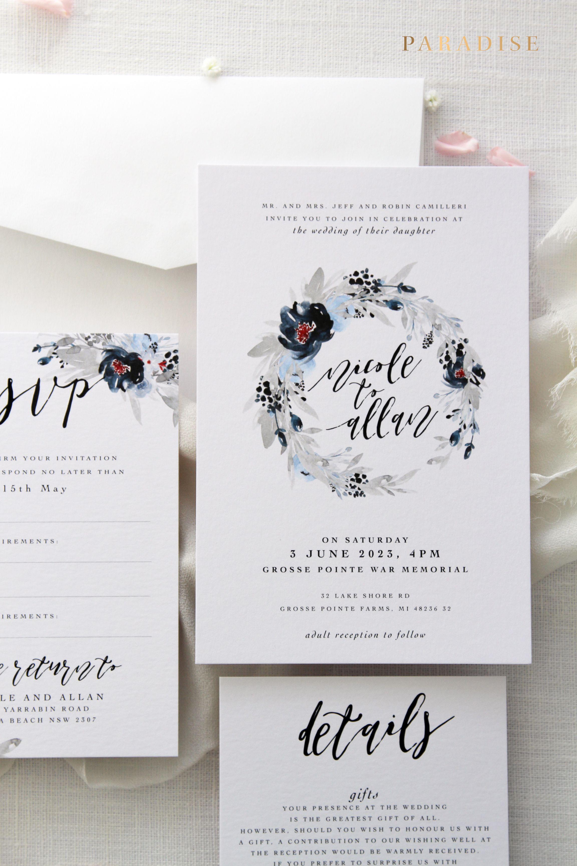 Livia Wreath Printable Or Printed Wedding Invitation Sets Weddings Beach Kits