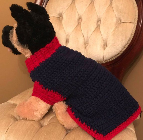 Navy blue and Red Medium Dog Crochet Sweater #dogcrochetedsweaters Navy blue and Red Medium Dog Crochet Sweater #dogcrochetedsweaters