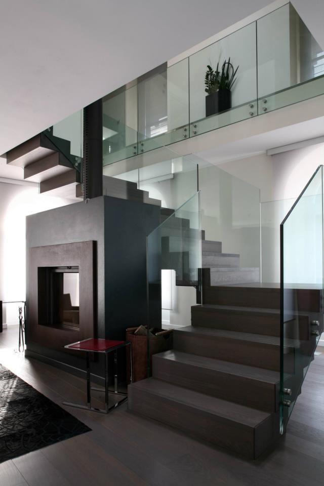 Recta y vidriada escaleras modernas Pinterest Escaleras - escaleras modernas