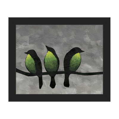 Click Wall Art Three Green Breasted Birds Framed Print Of Painting Frame Color Black Size 11 H X 14 Flower Canvas Art Canvas Art Prints Graphic Art Print