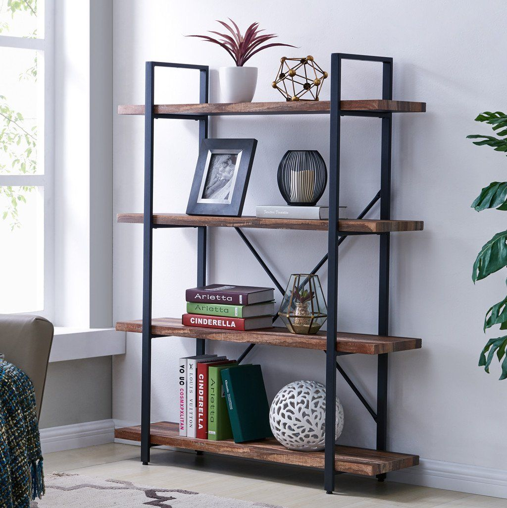 Amazon Com Homissue 4 Tier Industrial Style Bookshelf Wood And