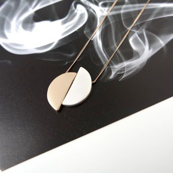 Two Tone Half Moon Necklace