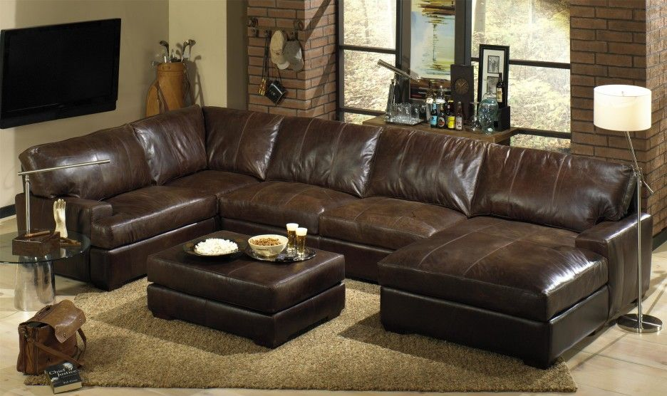 Furniture distressed top grain leather sectional sofa with chaise