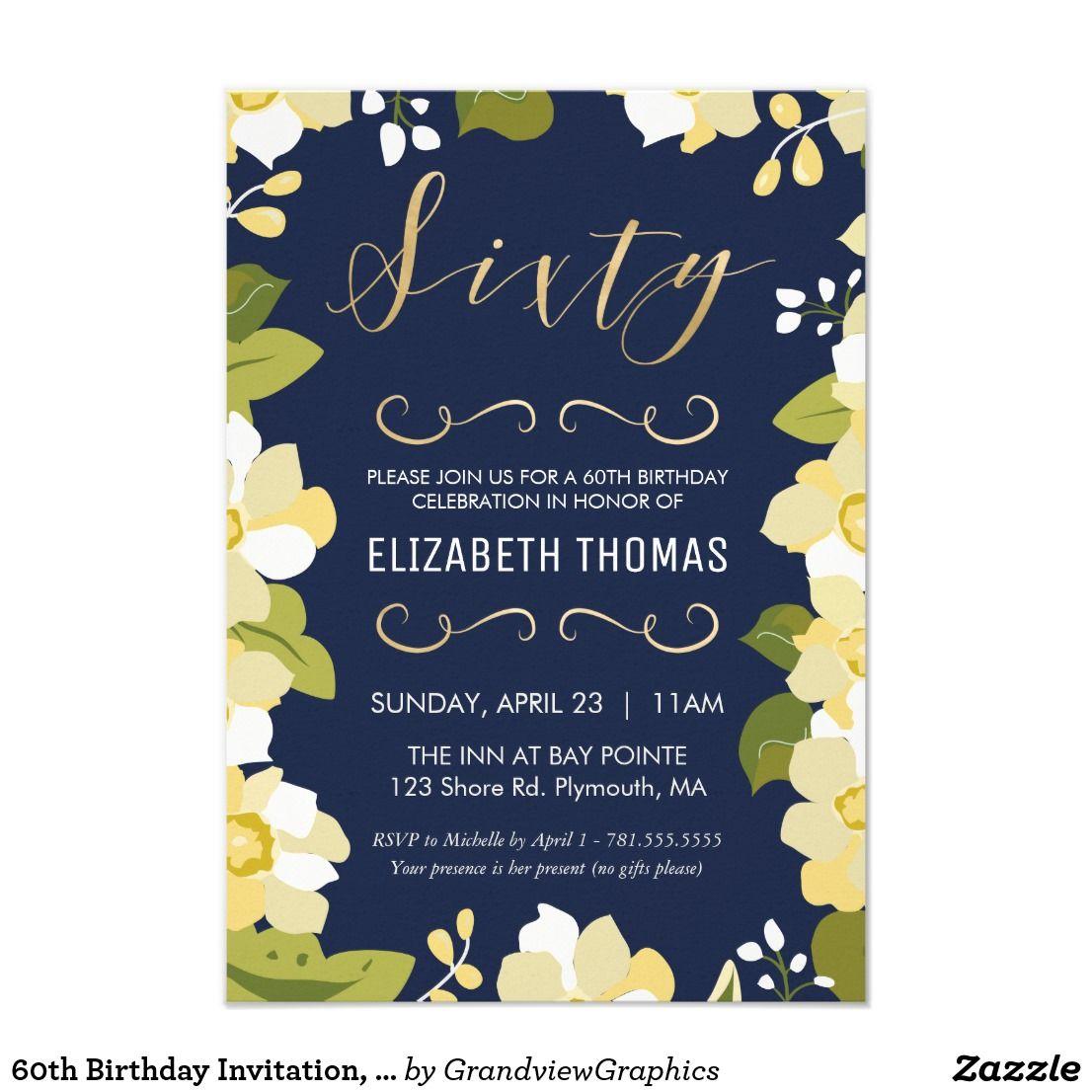 60th Birthday Invitation Customize Floral W Gold