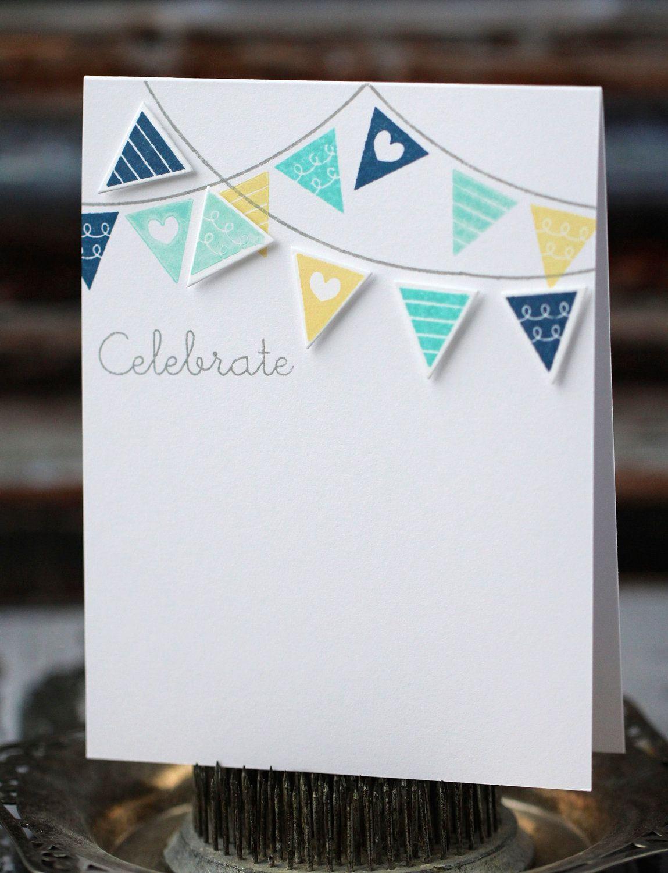 Celebrar tarjeta hecha a mano, azul, aqua, amarillo y bandera Ideas Tarjetas, Tarjetas