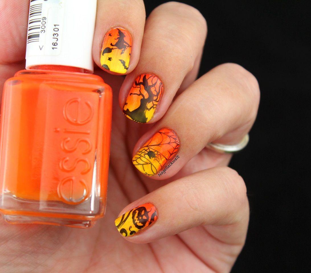 Halloween Nageldesign: Gradient mit Stamping | Halloween ...