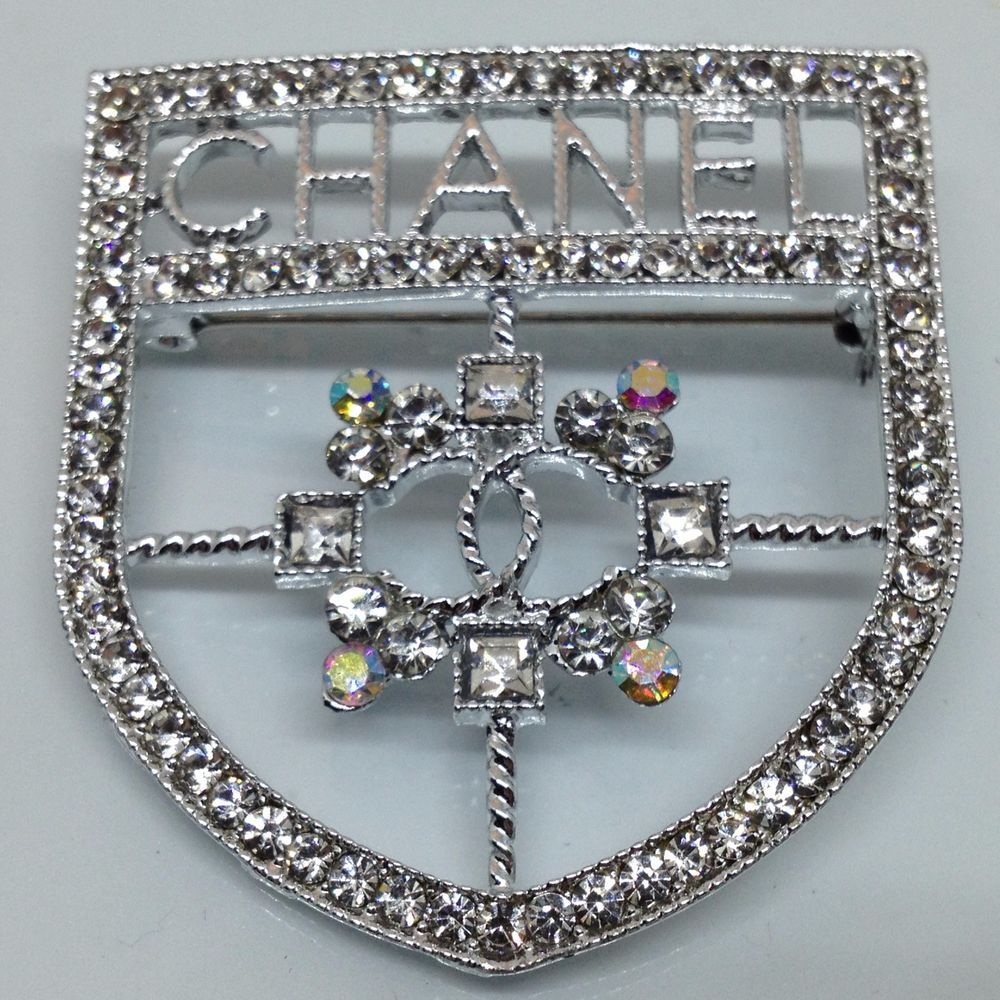 Vintage CHANEL BROOCH PIN Rhinestone Silver Tone Jewelry # ...