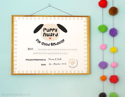 puppy award great idea to print off certificates for the kiddies when they are free printable certificatesaward certificatesfree printableskids - Free Printables Kids