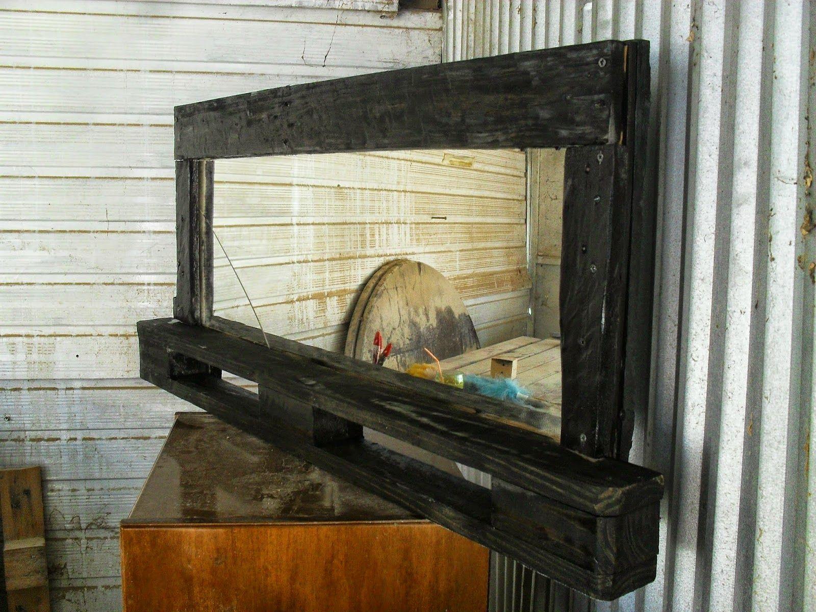 Έπιπλα από παλέτες mNv : καθρέφτης με ράφι από παλέτα