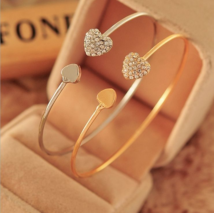 jewelry item heart girls bangle shining group chic on bangles aliexpress accessories from ladies gold bracelet rhinestone in sweet com alibaba lovely