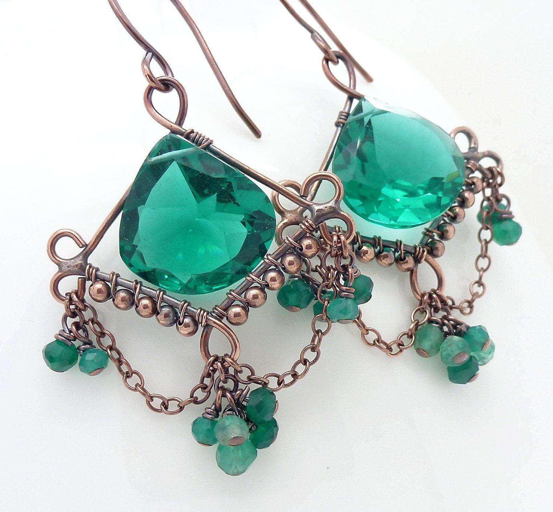 Wire wrapped Copper earrings. Dark teal earrings. Teal chandelier ...