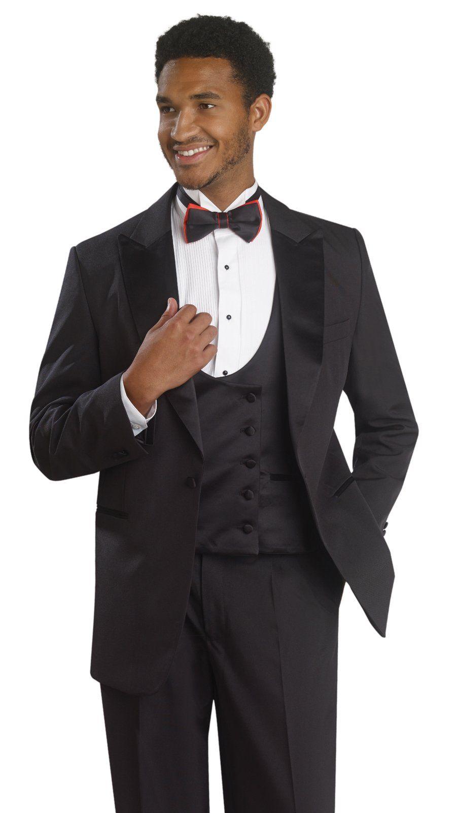 EJ Black Tuxedo 3 Piece Mens Formal Suit Double Breasted Vest TUX104 ...