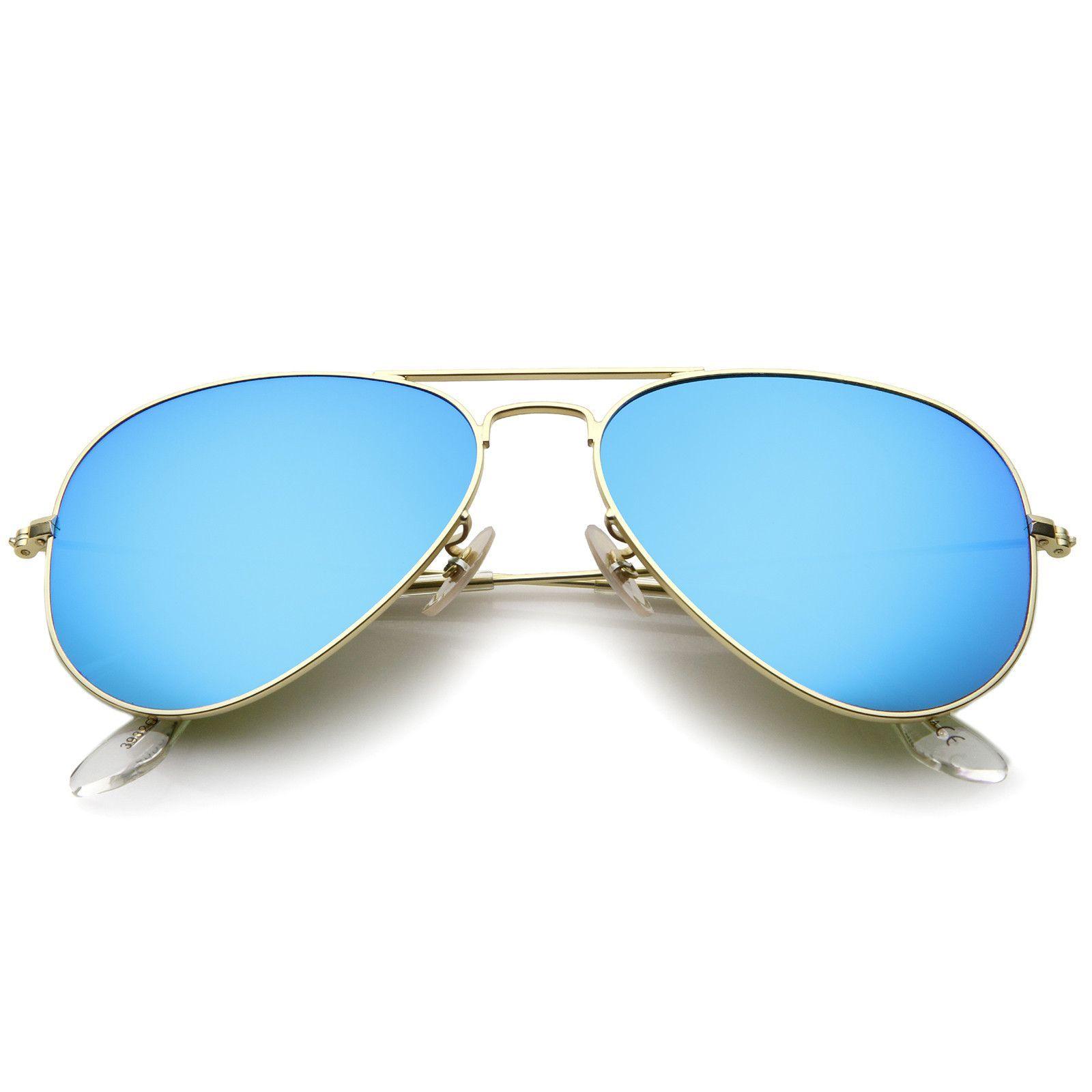 Premium Classic Small Matte Metal Frame Mirror Glass Lens Aviator ...