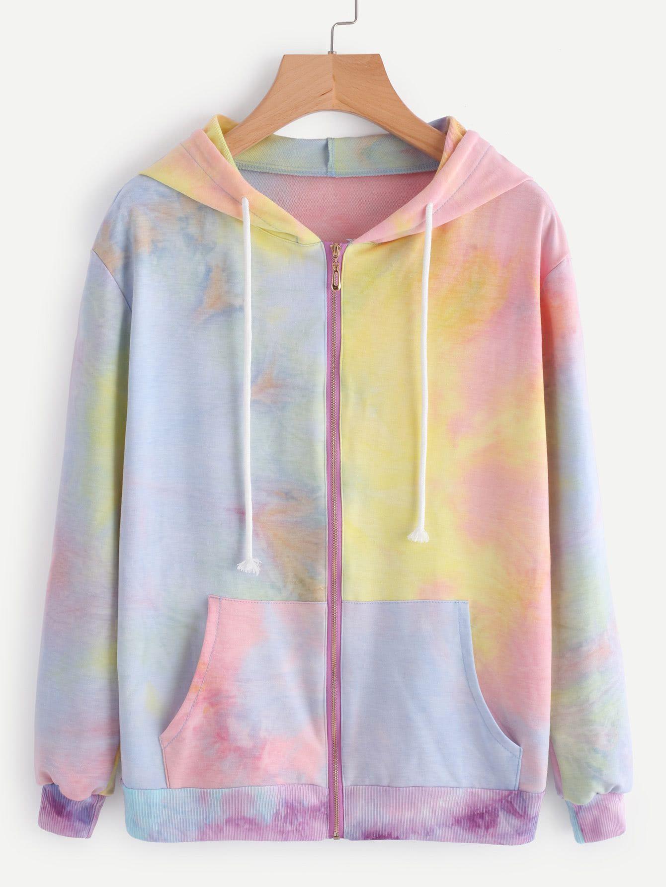 Water Color Drawstring Hooded Zip Up Jacket Tie Dye Hoodie Clothes Sweater Sale [ 1785 x 1340 Pixel ]