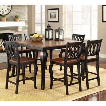 Roslyn 7Piece Square Counterheight Dining Set  Furniture Fair Pub Height Dining Room Table Design Decoration