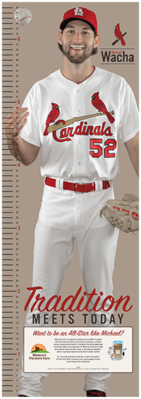 Grow tall like the pros! Missouri Farmers Care is providing each kid who attends the game on September 7th with a growth poster, so they can track their growth alongside Cardinals pitcher, Michael Wacha!