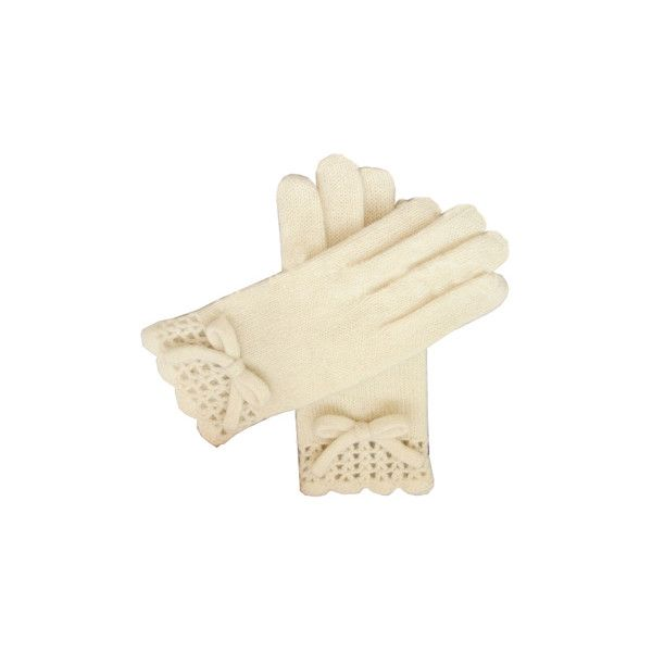 Knitted Bowknot Cream Gloves [AO0210] - $22.99 : ($23) ❤ liked on Polyvore