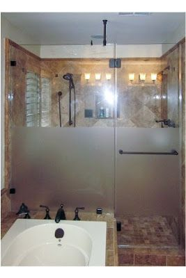 Frosted Middle Shower Door With Temporary Window Film