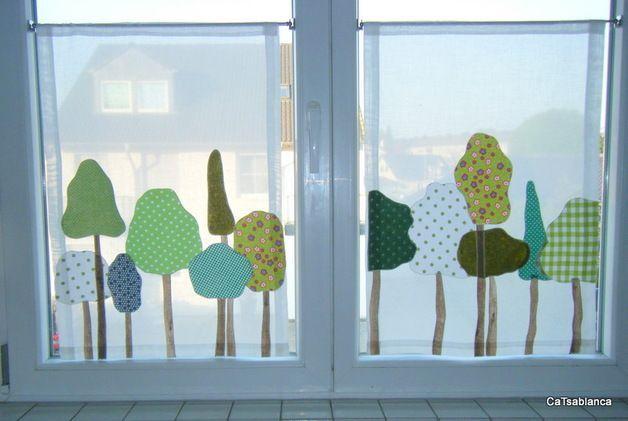 Bistrogardine Bäume im Frühling                                                                                                                     ... - kinderzimmer - #Bäume #Bistrogardine #Frühling #im #Kinderzimmer #fensterdekoherbst