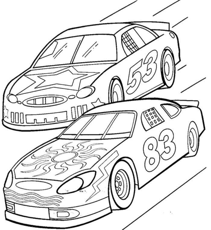 Two Car Track Racing Coloring Page Race Car Car Coloring Pages Race Car Coloring Pages Cars Coloring Pages Truck Coloring Pages