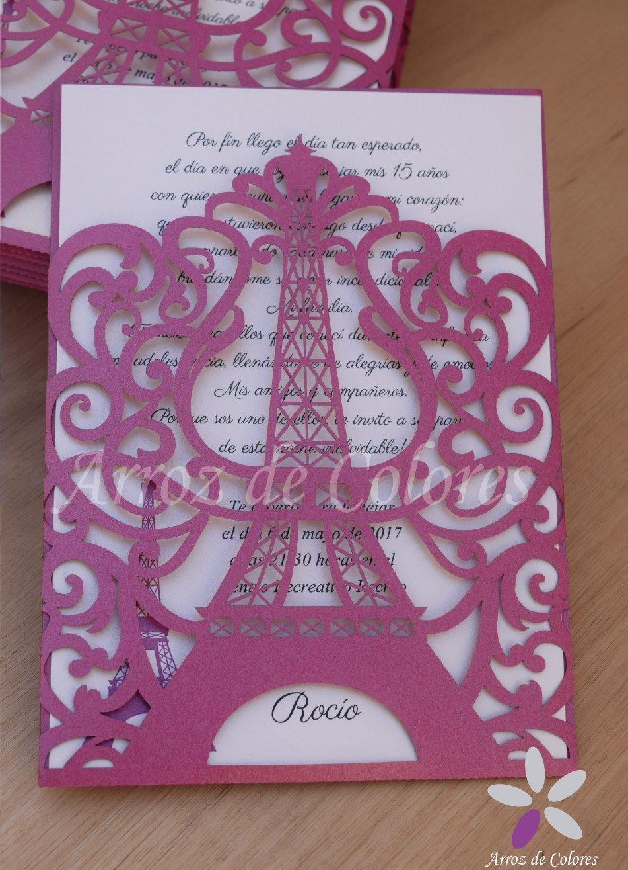30 Invitaciones Torre Eiffel Caladas Láser 15 Años Tarjetas