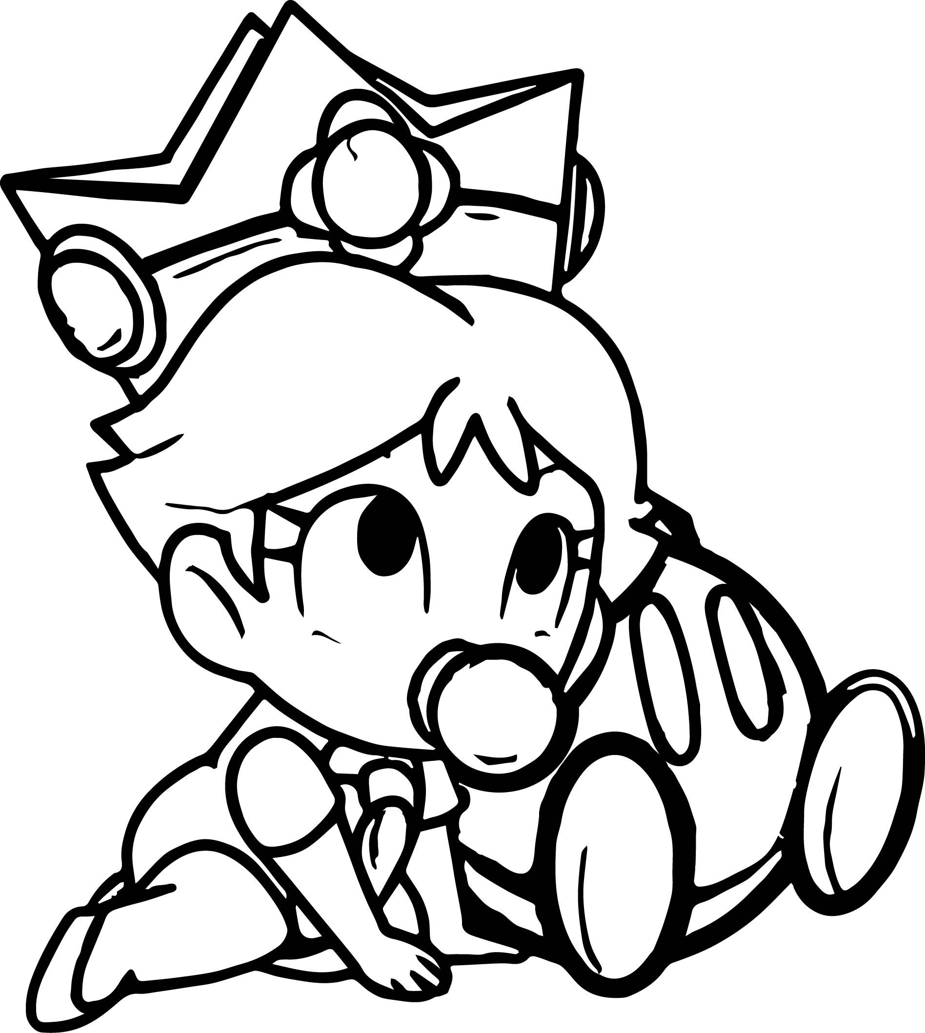 cool Baby Daisy Peach Daisy And Rosalina As Babies Coloring Page