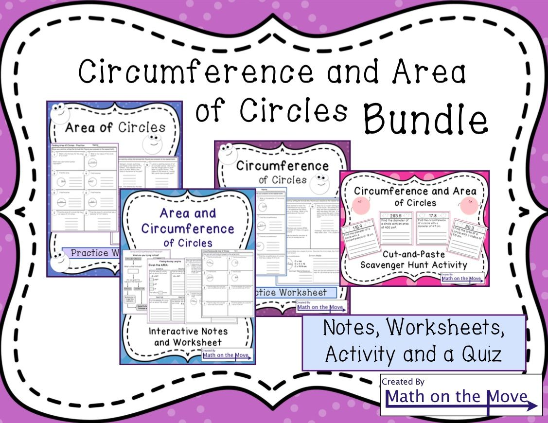Circumference And Area Of Circles Bundle Worksheets Maths And
