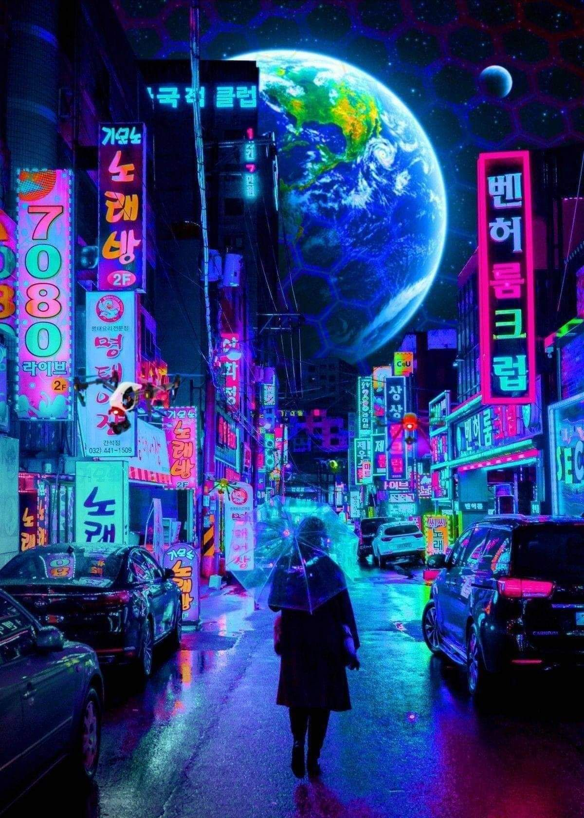 Walking Cyberpunk aesthetic, Cyberpunk city, Cyberpunk art