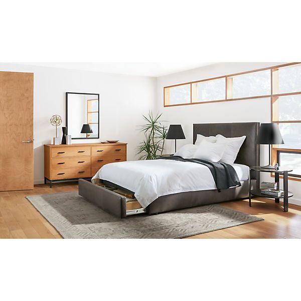 Wyatt Upholstered Storage Bed With Drawer Beds Bedroom Room Board