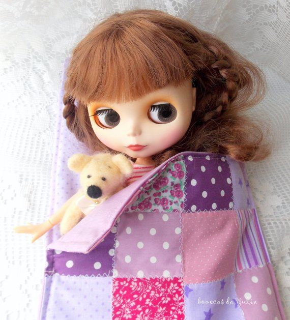 12 inch doll quilt sleeping bag Purple pink Barbie Monster high Blythe Bratz 1/6 bjd bed clothes Blanket pillow Doll travel set Portable #bearbedpillowdolls
