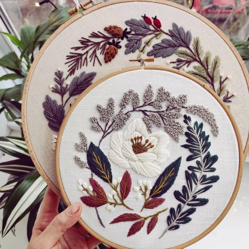 Pdf pattern+ video tutorial. White Lotus/ digital tutorial floral diy  hand embroidery Digital Download – Sticken