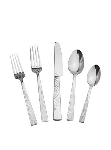 "www.myhabit.com  With chic, textured handles, this artful set is equally fit for every day and special occasions; set includes (4) 7.9"" dinner forks, (4) 8.9"" dinner knives, (4) 7.4""salad forks, (4) 7.3"" soup spoons and (4) 5.9"" tea spoons"