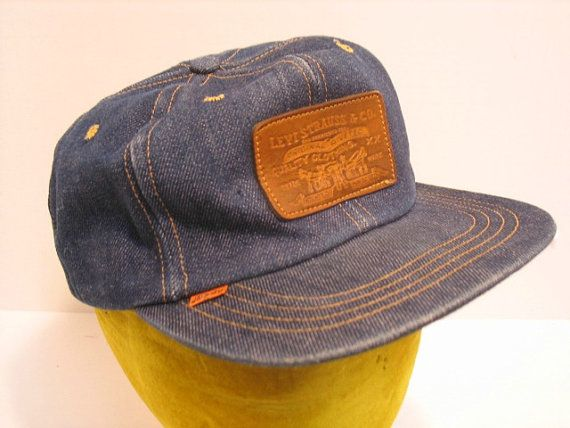 5a615c34ca5 Vintage Levis Levi Denim Jean Cap Hat Leather Patch Trucker Farmer ...