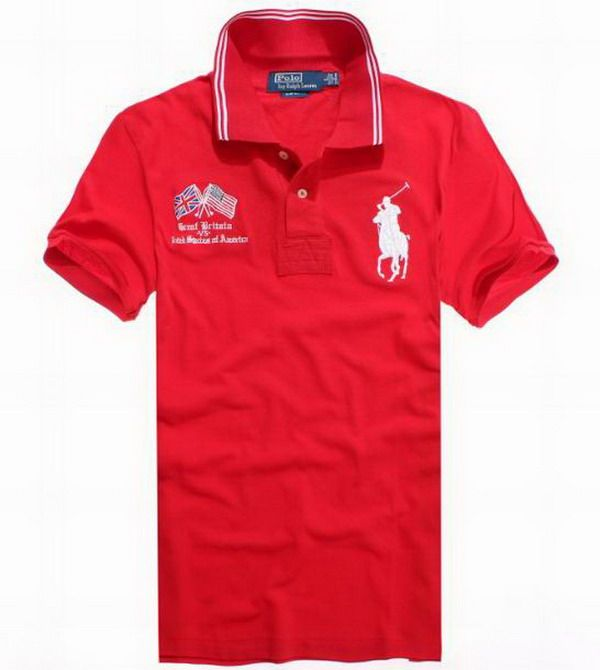 Ralph Lauren Crossed Flags USA Polo Shirt In French Red http://www.