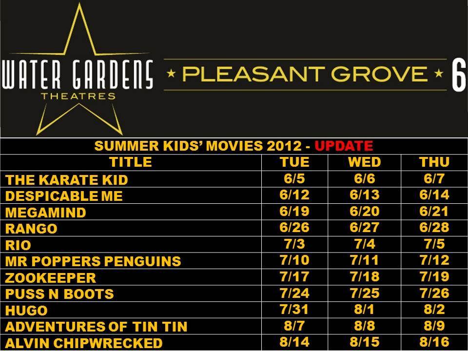 Water Gardens Pleasant Grove summer kid movies 2012