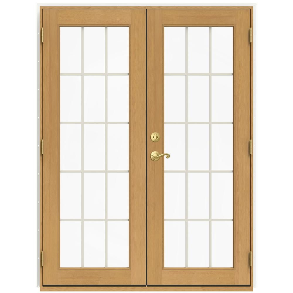 JELD-WEN 59.5 in. x 79.5 in. W-2500 Brilliant White Left-Hand Inswing French Wood Patio Door