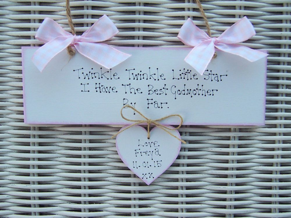 Personalised Godmother Godparents Baby Christening Gift Plaque Sign New Baby