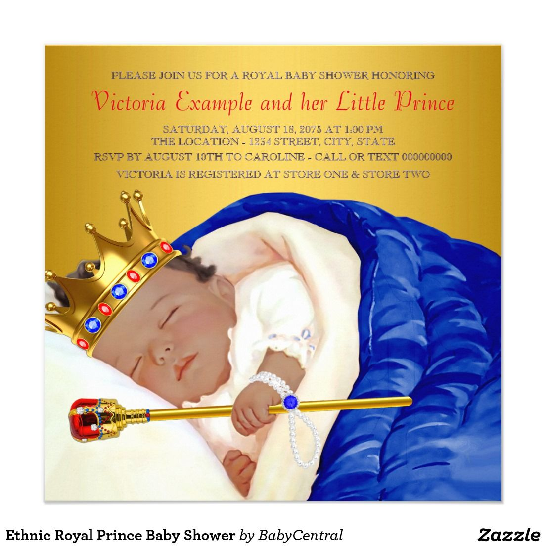 Ethnic Royal Prince Baby Shower Invitation | Prince Baby Shower ...