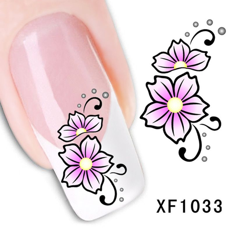 New chic watermark cute black flower design nail art water transfer nail sticker decals temporary tattoos