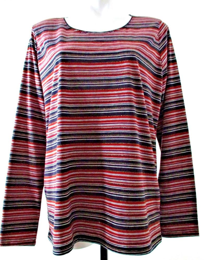 69b9e51963d38 Kim Rogers Regular XL multi-color cotton polyester long sleeve striped knit  top  fashion  clothing  shoes  accessories  womensclothing  tops (ebay link)