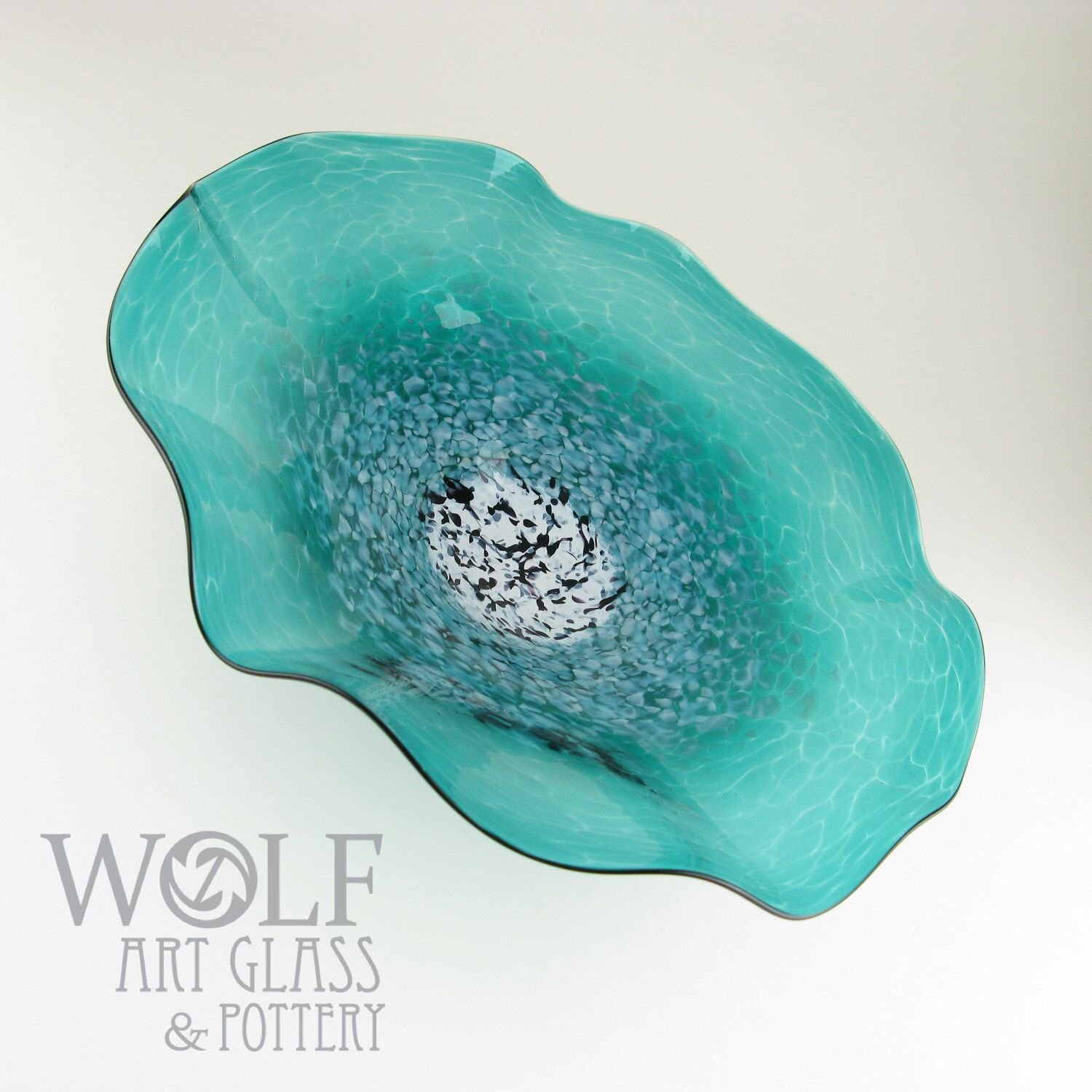 Made to order blown glass wall art poppy flower teal turquoise glass