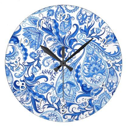 Gorgeous Blue White Floral Paisley Pattern Large Clock   Classic Gifts Gift  Ideas Diy Custom Unique