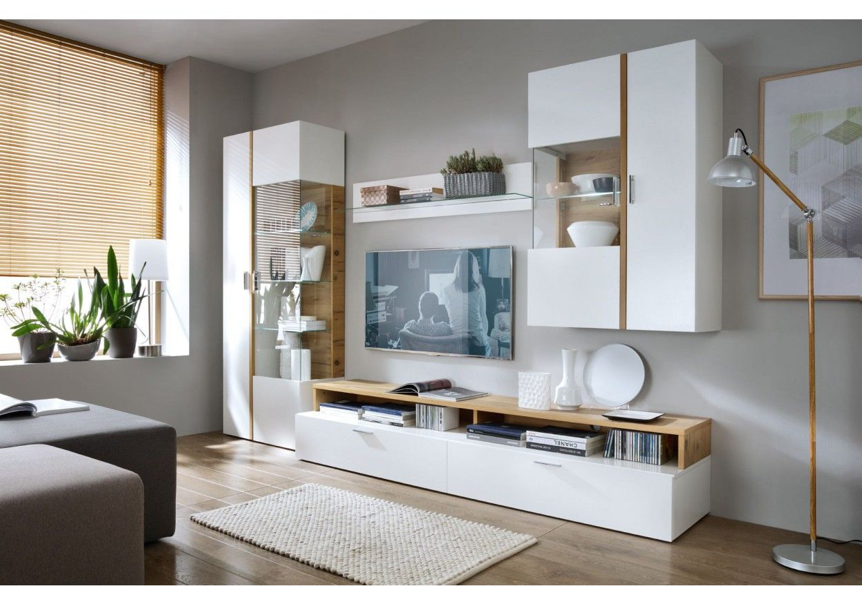 Modernes Design, Großzügiger Stauraum Und Raffinierte Details Zeichnen  Diese Moderne Wohnwand Aus. 18 00142 Wohnwand Weiss Lackiert Mit Absetzung  In Eiche ...