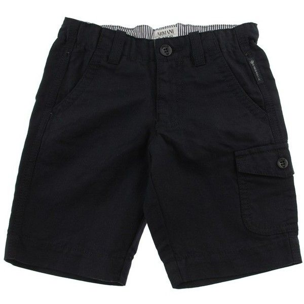Armani Junior Boys Navy Cotton Linen Shorts (230 BRL) ❤ liked on Polyvore featuring baby