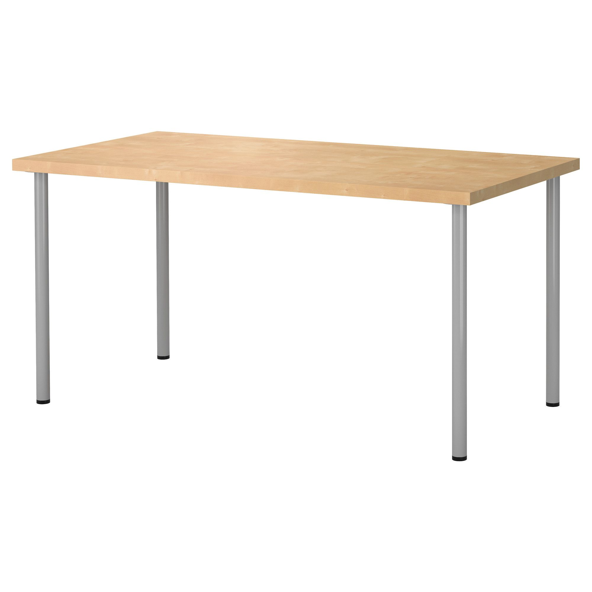 Ikea Linnmon Adils Table Birch Effect Silver Color Pre Drilled Leg Holes For Easy Embly Adjule Feet Allow You To Level The On Uneven