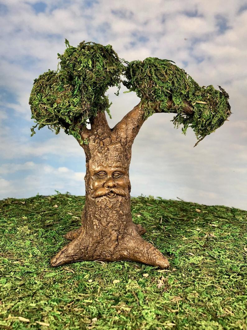 Fairy Tree, Fantasy Tree, Miniature Tree, Carved Face Tree, Tree Sculpture Garden