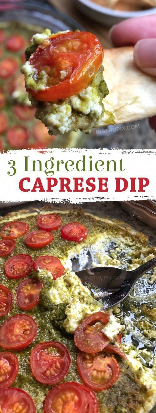 OMG, SO GOOD!! This easy appetizer dip for a party is a real crowd pleaser! Just 3 ingredients! It's perfect served with pita chips, bread or crackers. | Warm Caprese Cheese Dip Recipe from