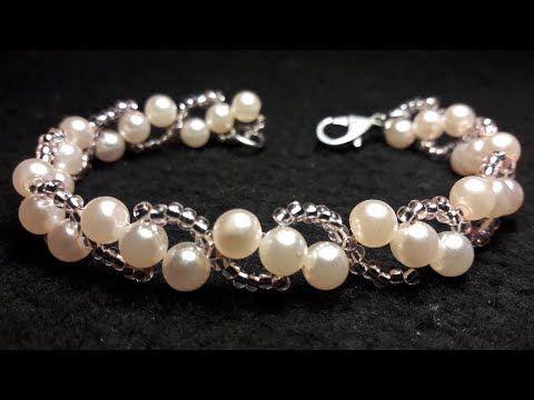 39c795b91ccb Como hacer pulseras con chaquira, pulseras con perlas. - YouTube ...