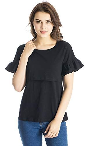 462f0e315ec9ca Modern Mummy Women s Maternity Nursing Tank Top Short Sleeves Comfy Breastfeeding  Clothes Black Medium